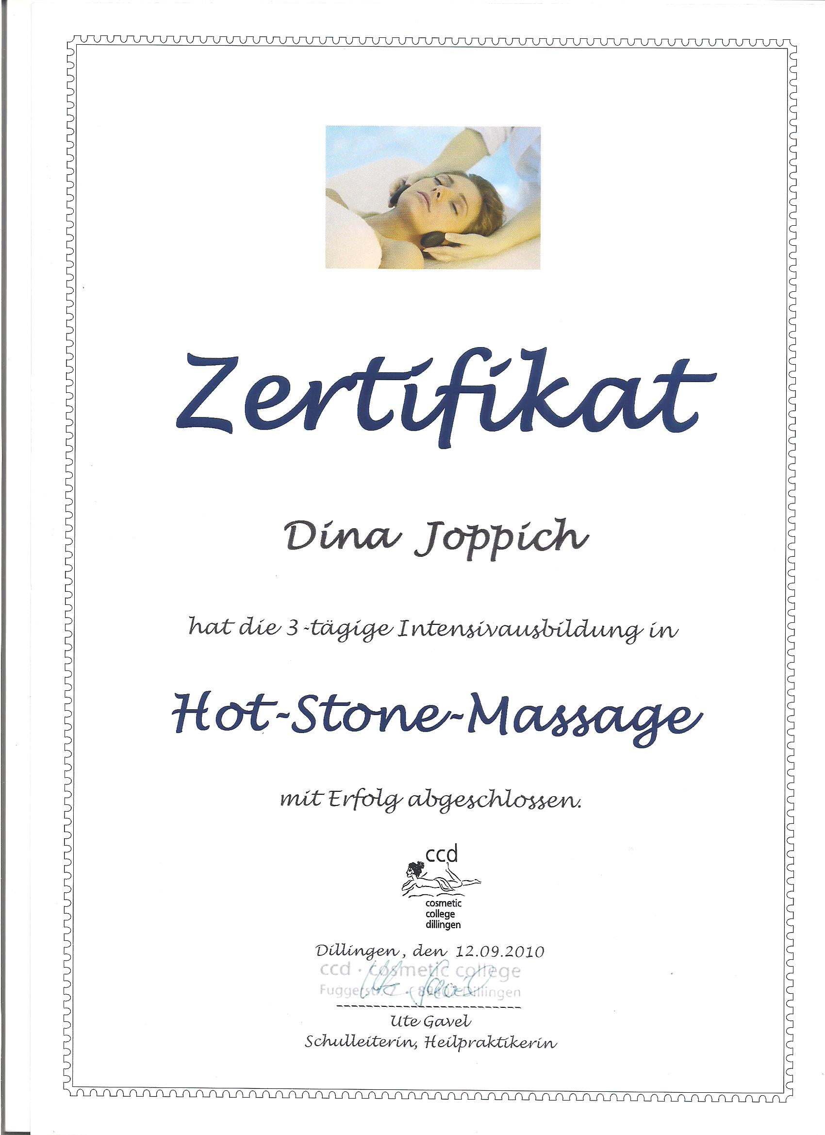 Hot Stone Massage Zertifikat